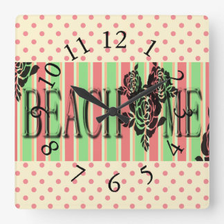 Beach-Me*-Watermelon-Stripes(c)Multi-Choices Square Wall Clock