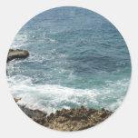 Beach Meets Ocean Round Stickers