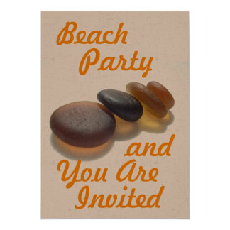 Beach Party - and You Are Invited 13 Cm X 18 Cm Invitation Card
