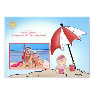 """Beach Party - Photo Birthday Party Invitation 5"""" X 7"""" Invitation Card"""