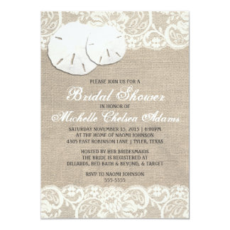 Beach Rustic Burlap Lace Bridal Shower Initation Card