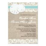 "Beach Rustic Burlap Lace Wedding Invitation 5"" X 7"" Invitation Card"