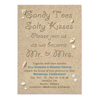 Beach Sandy Toes Salty Kisses Wedding Invitation