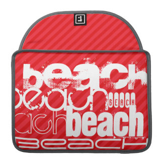 Beach; Scarlet Red Stripes Sleeve For MacBooks