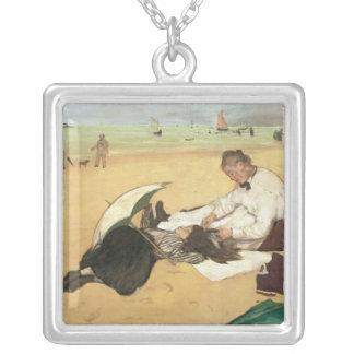 Beach scene square pendant necklace