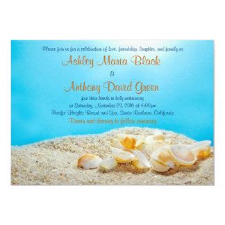 Beach Seashell Destination Wedding Invitation