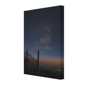 Beach Sunrise Moon and Morning Star Gallery Wrapped Canvas
