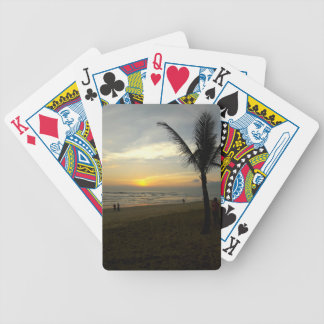 Beach Sunrise with Palm Tree Bicycle Playing Cards