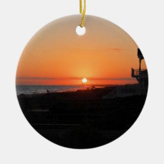 Beach Sunset at Holden Beach NC Christmas Ornament