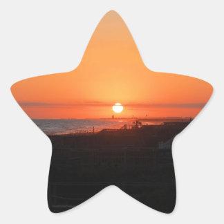 Beach Sunset at Holden Beach NC Star Sticker