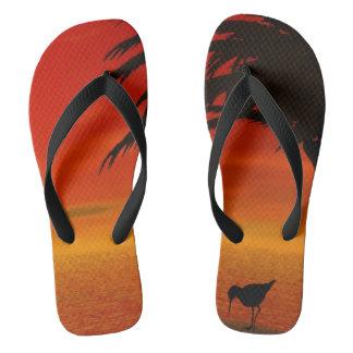 Beach sunset flip flops