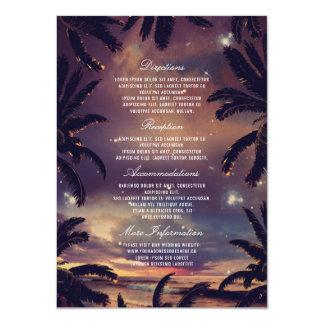 Beach Sunset Palm Leaves Wedding Details Card
