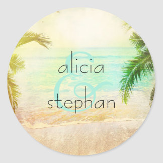 Beach Sunset Wedding Round Sticker