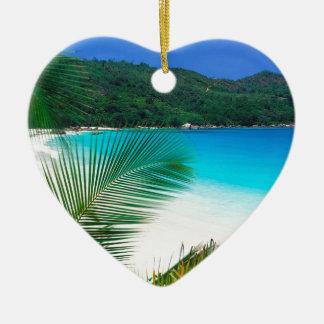 Beach Tropical Retreat Seychelles Ceramic Heart Decoration