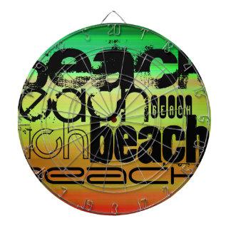 Beach; Vibrant Green, Orange, & Yellow Dartboard