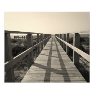 Beach Walk in Sepia Art Photo