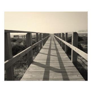 Beach Walk in Sepia Art Photo