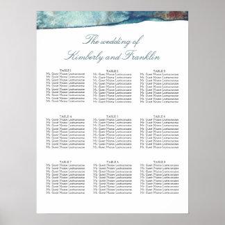 Beach Watercolors Wedding Seating Chart Poster