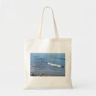 """Beach waves rocky shore with poem """"Gifts of a Day"""" Tote Bag"""