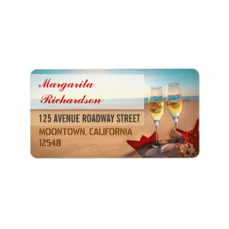 beach wedding address labels