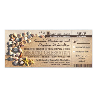 beach wedding boarding pass tickets - invitations