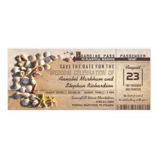 beach wedding boarding pass tickets save the date 10 cm x 24 cm invitation card