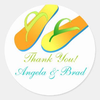 Beach Wedding Favour Stickers Thank You Flip Flops