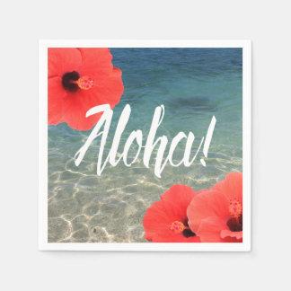 Beach Wedding Hawaiian Hibiscus & Blue Sea Aloha Disposable Napkin
