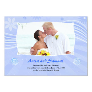Beach Wedding Photo Flat Card Announcement
