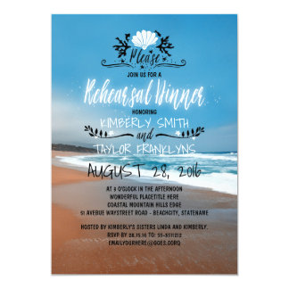 Beach Wedding Rehearsal Dinner 13 Cm X 18 Cm Invitation Card