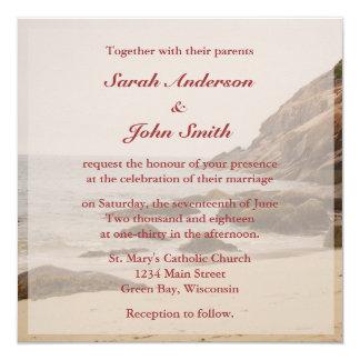 Beach Wedding Square Invitation - Rocky Beach