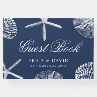 Beach Wedding Starfish & Sand Dollar Navy Blue Guest Book