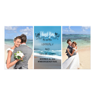Beach Wedding Thank You Photo Greeting Card