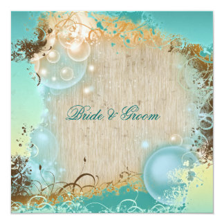 Beach wedding theme tropical destination 13 cm x 13 cm square invitation card