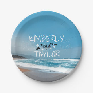 beach wedding whimsical 7 inch paper plate