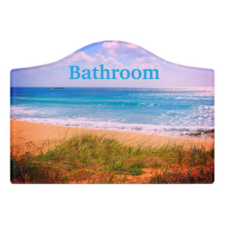 Beach with Dunes Bathroom Door Sign