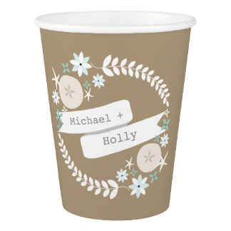 Beach Wreath With Names Wedding Cups