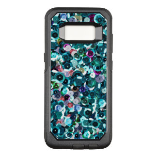 Beachy Aqua Blue Faux Sequins OtterBox Commuter Samsung Galaxy S8 Case