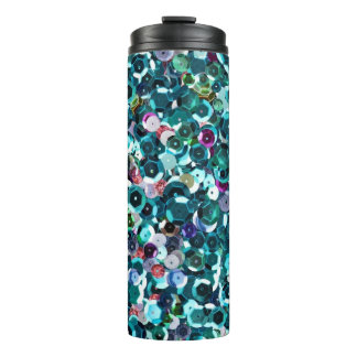 Beachy Aqua Blue Faux Sequins Thermal Tumbler