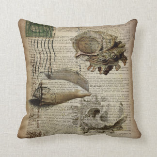 beachy dictionary print modern vintage seashell cushion