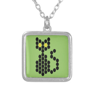 Bead Patterned Black Cat Square Pendant Necklace