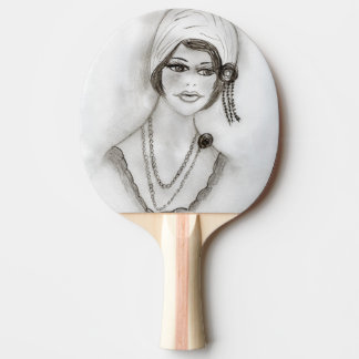 Beaded Flapper Girl Ping Pong Paddle