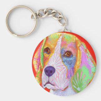 Beagle Dog Basic Round Button Key Ring