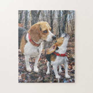 Beagle Mom & Puppy In Woods Jigsaw Puzzle