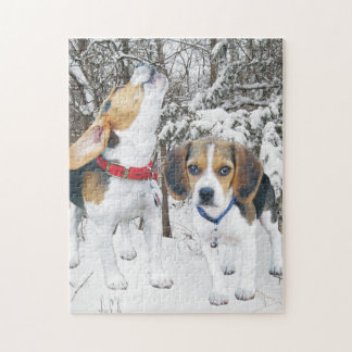 Beagle Puppies in the Snowy Woods Puzzle