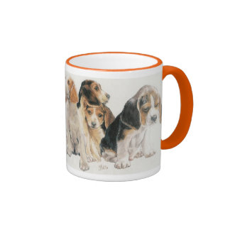 Beagle Puppies Ringer Mug