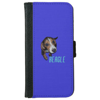 Beagle Puppy Sitting - Blue Background iPhone 6 Wallet Case