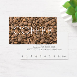 Beans Simple Big Word Coffee Loyalty Business Card