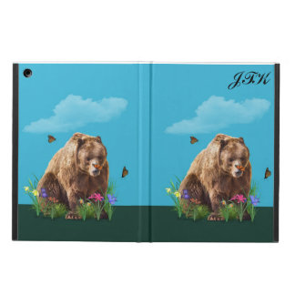 Bear and Butterflies, Customizable Monogram iPad Air Cases