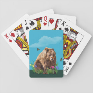 Bear and Butterflies Fantasy  Customizable Playing Cards
